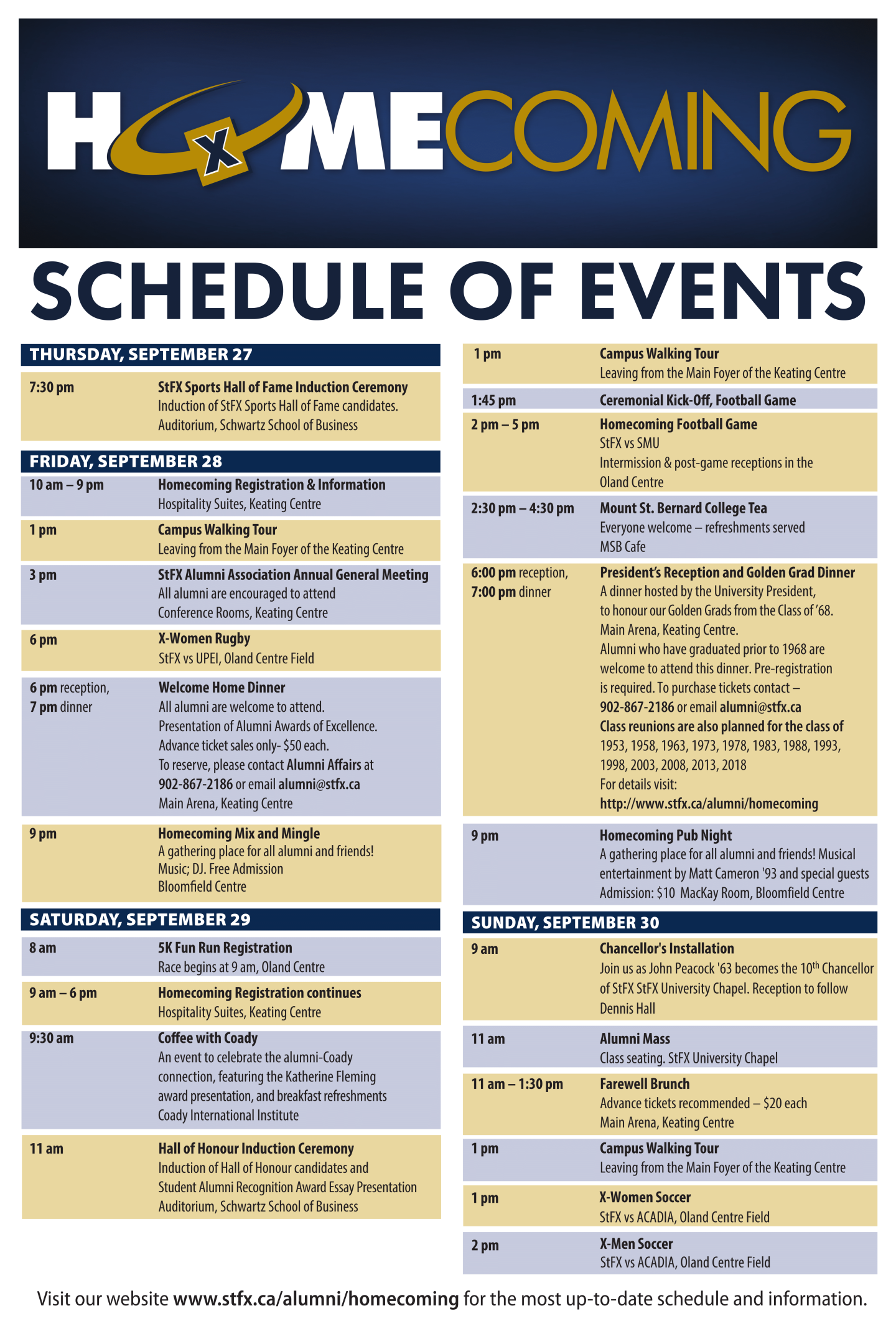 StFX Homecoming 2018 Schedule