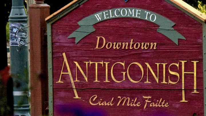 Welcome to Antigonish, Nova Scotia sign
